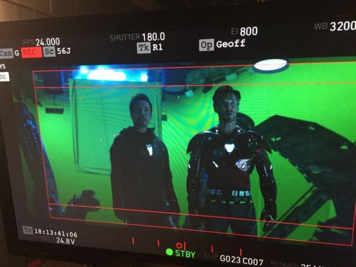 Avengers: Infinity War Set Photo - Doctor Strange in Iron Man Armor