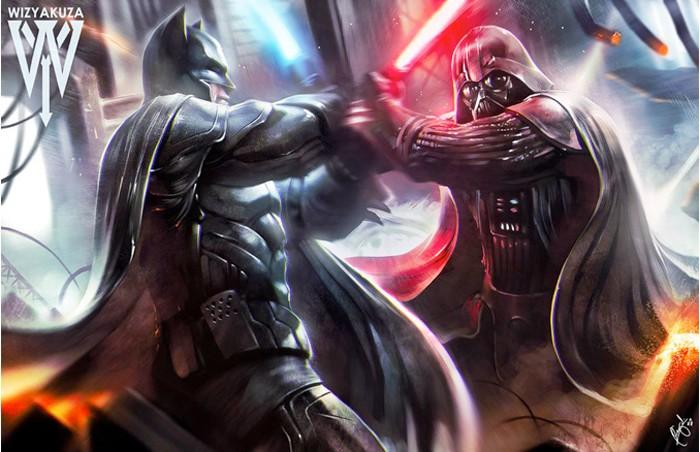 Batman Fighting Darth Vader Print