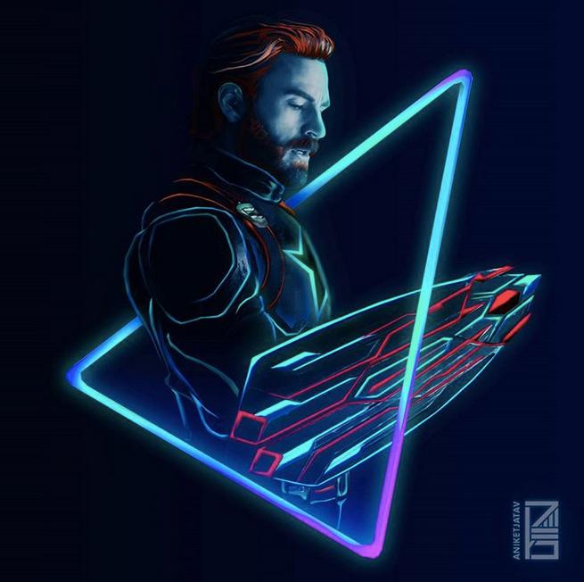 Avengers Infinity War Neon Poster