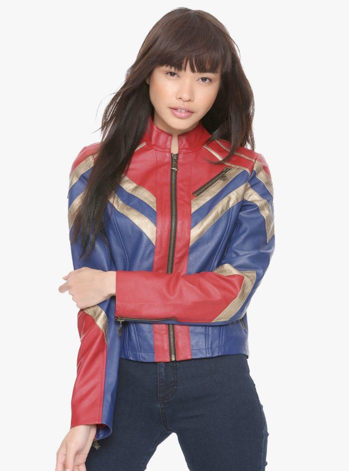 Captain Marvel Faux Leather Jacket