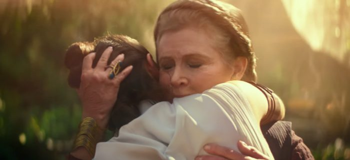 carrie fisher in the rise of skywalker screentime