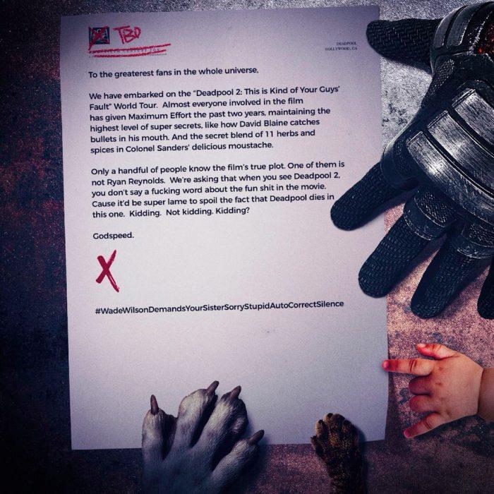 Deadpool 2 Spoilers Letter