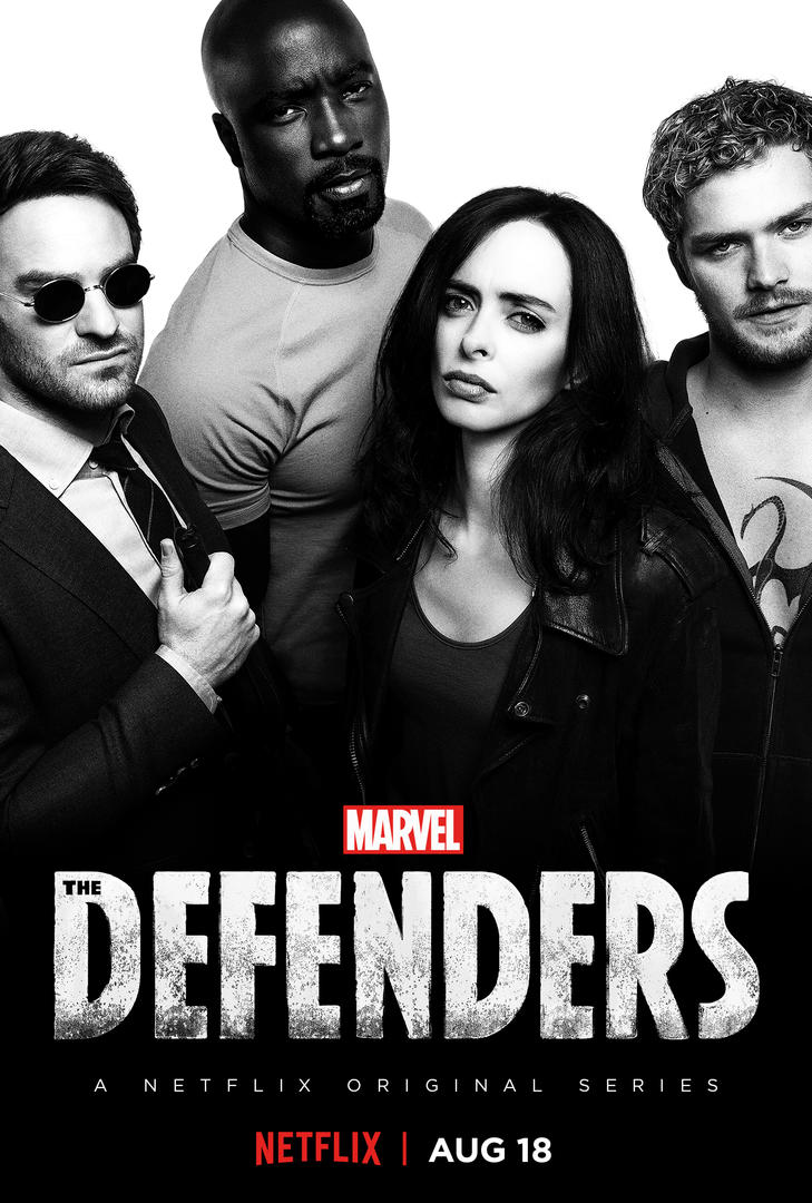 Black and white poster for the defenders perhaps harkening back to the gen x indie movie posters i dont know i get a badass clerks vibe that all