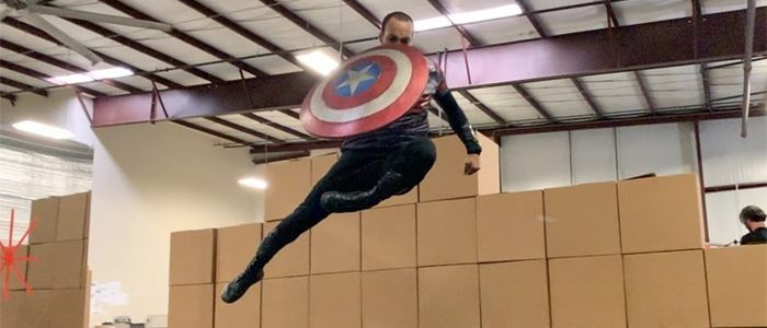 The Falcon and The Winter Soldier Shield Stunt - Aaron Toney