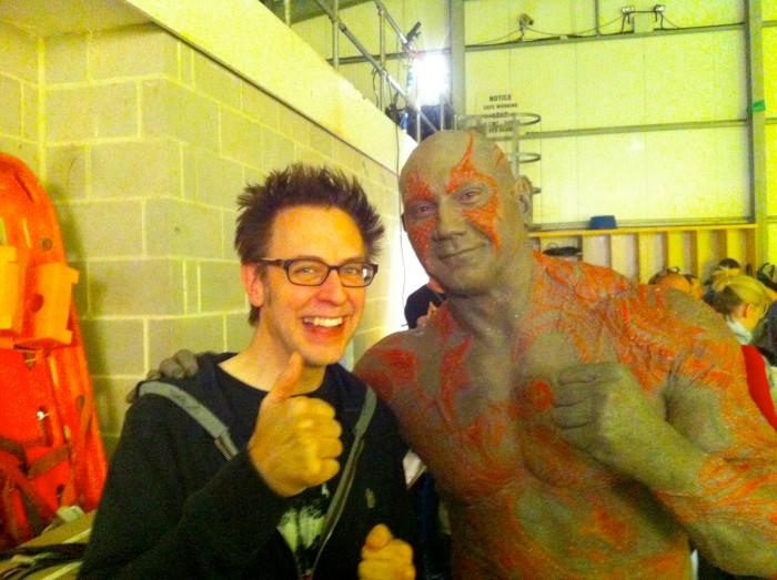Guardians of the Galaxy 2 Set Photo - James Gunn and Dava Bautista