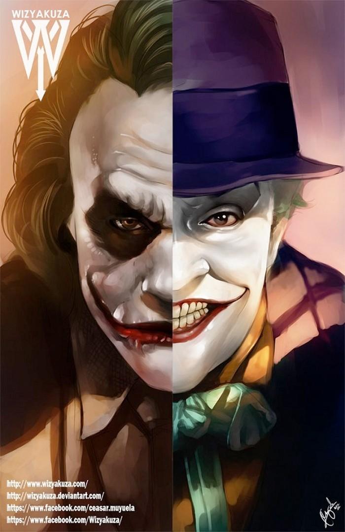 The Joker Split Print - Jack Nicholson and Heath Ledger