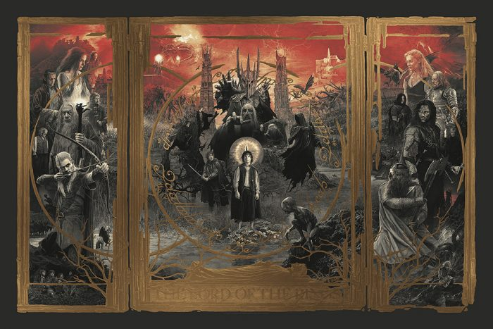 Gabz Lord of the Rings Trilogy Poster - Gold Foil