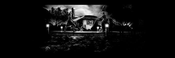 Mark Englert The Mandalorian Poster - Black and White Glow Variant