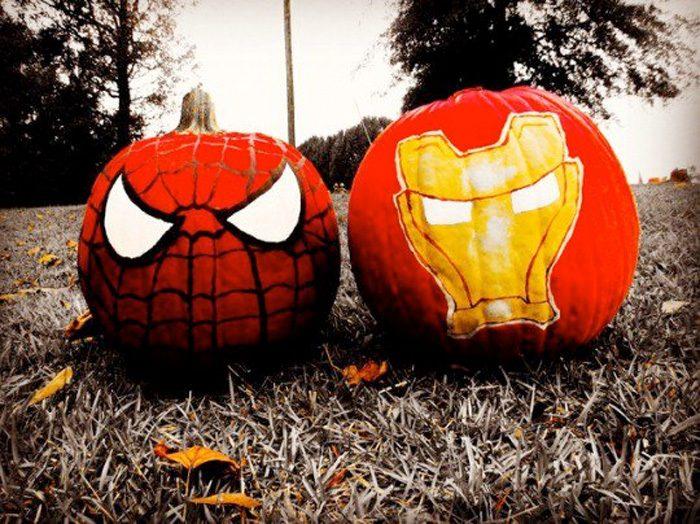 Spider-Man and Iron Man Pumpkins