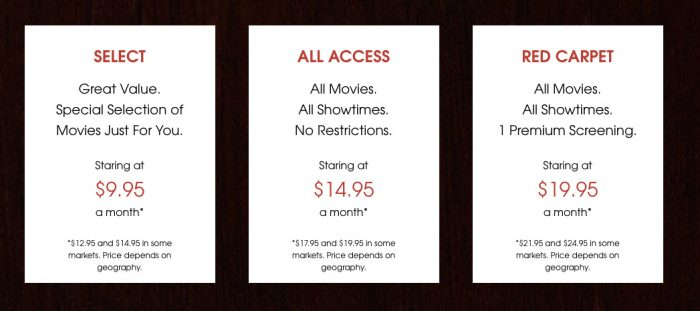 New MoviePass Monthly Plans