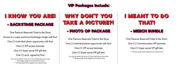 Pee-wee's Big Adventure Tour - VIP Packages