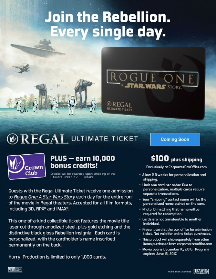 regal rogue one ultimate ticket