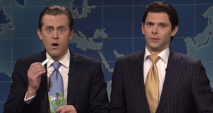 Alex Moffat and Mikey Day as Eric Trump and Donald Trump Jr.