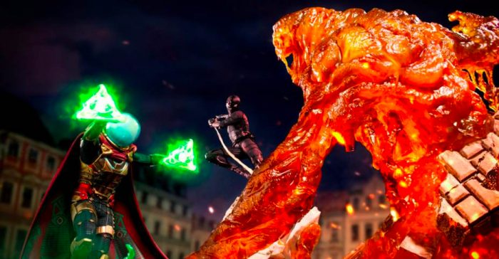 Mysterio and Molten Man Statues