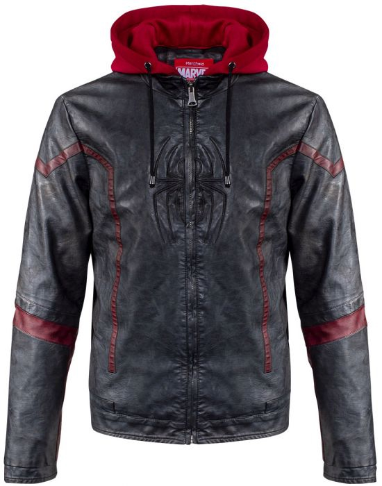 Spider-Man Faux Leather Hoodie Jacket