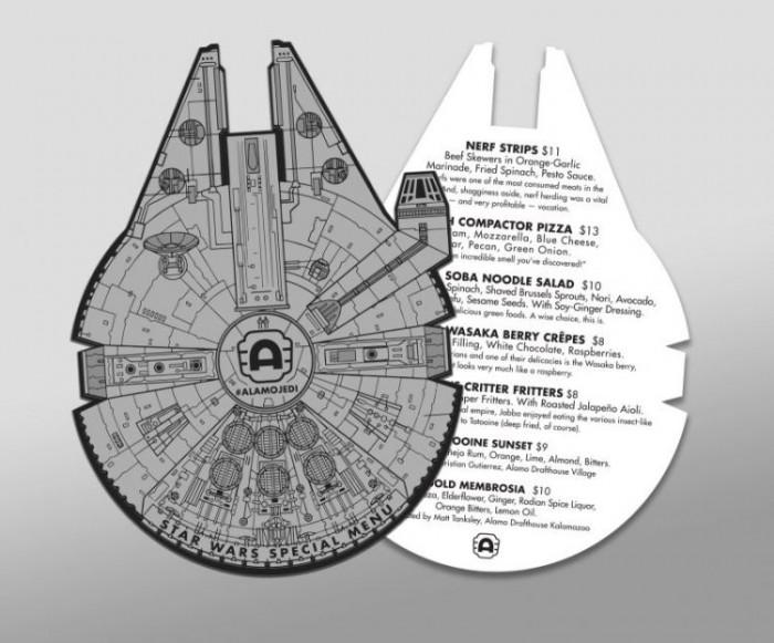 Alamo Draft House Cinema Offers Star Wars Themed Meals Listed on a Millennium Falcon Menu