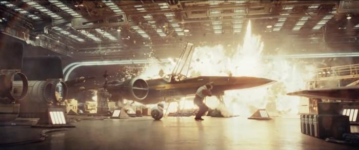 star wars the last jedi trailer 15 poe hangar explosion