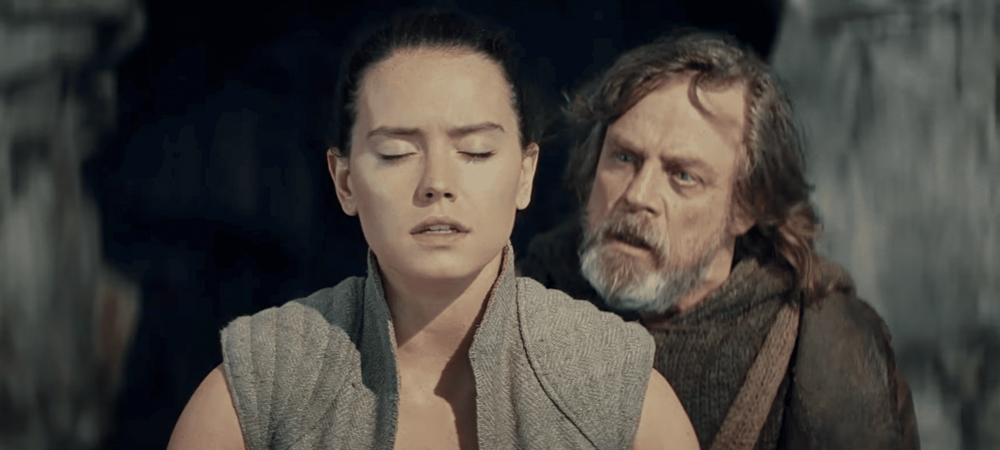 Daisy Ridley as Rey and Mark Hamill as Luke Skywalker in Star Wars Episode VIII The Last Jedi