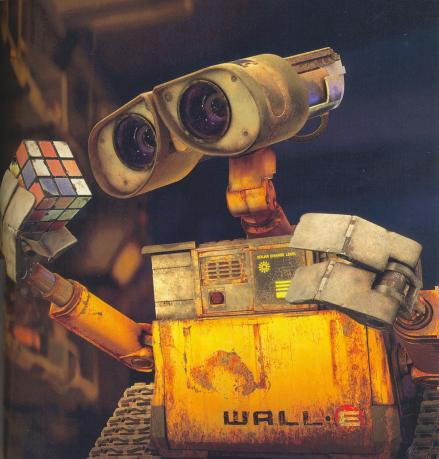 WALLE•E holding a Rubik's Cube