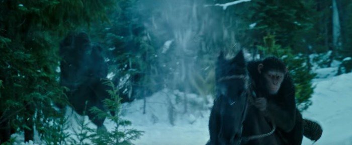 war for the planet of the apes ceasar on horseback in the snow