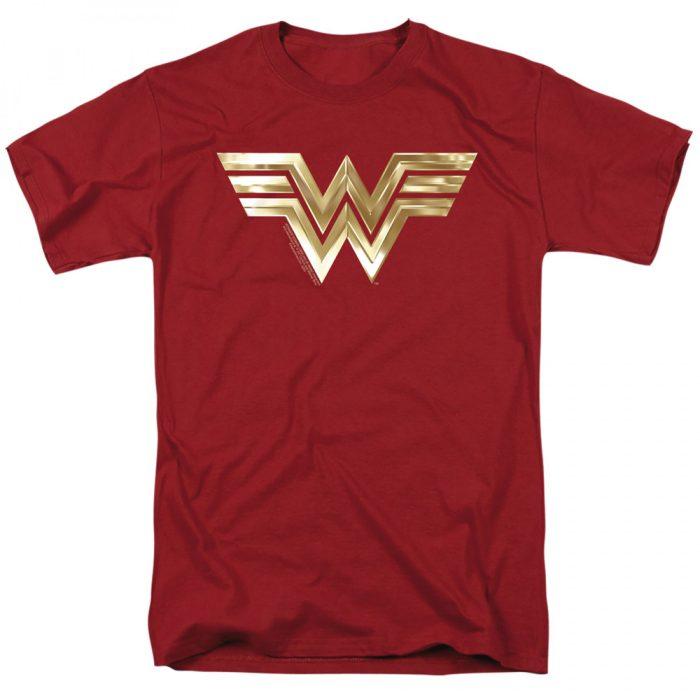 Wonder Woman Red Shirt Shiny Golden Logo