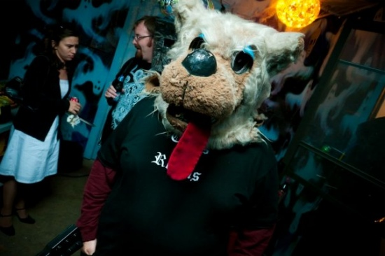 Peter Sciretta dressed as the Fox from AntiChrist at Halloween Party